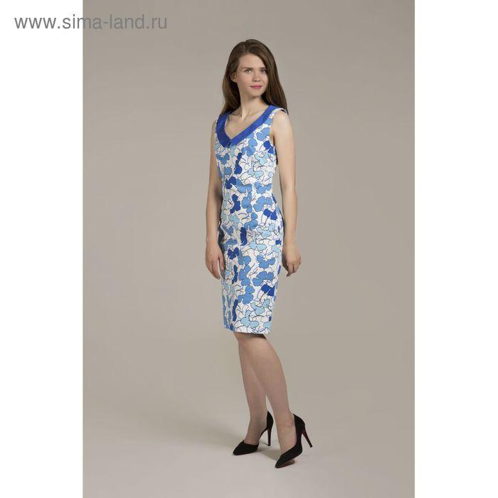 Платье женское Y6324-0083, цвет сине голубые цветы, размер44/170