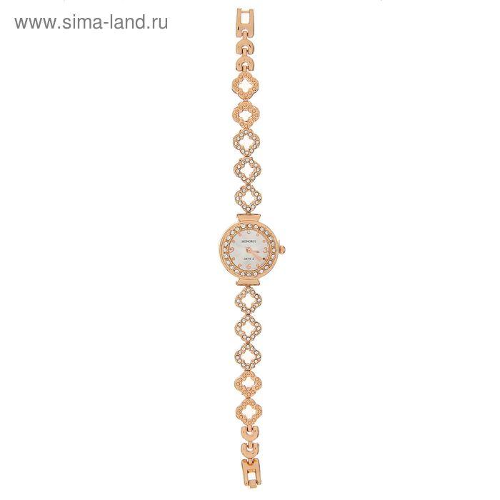 Часы наручные жен женские, браслет металл со стразами четырех листник