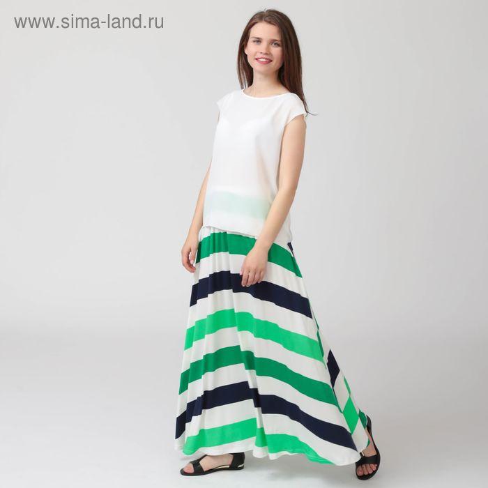 Юбка женская, цвет сине-зелёная полоска, размер 56, рост 170 см (арт. Y0105-0152 С+ new)