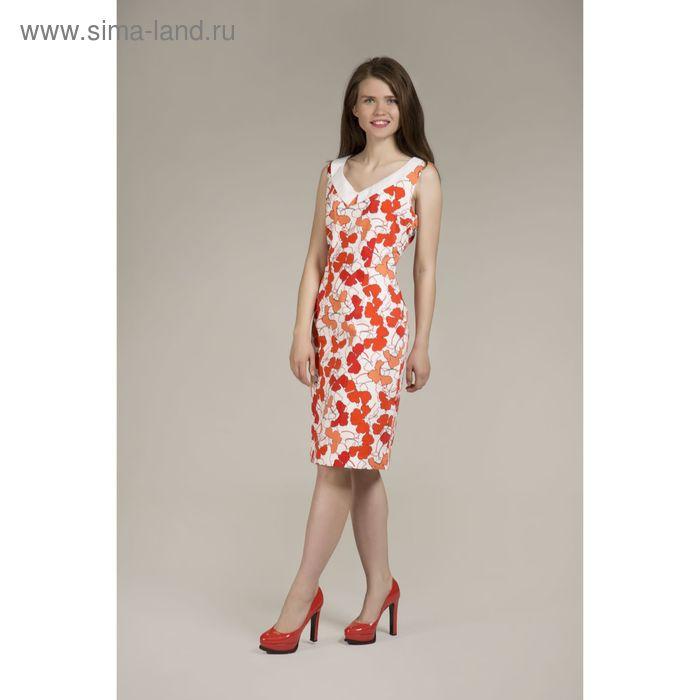 Платье женское Y6325-0083, цвет красно оранжевые цветы, размер44/170