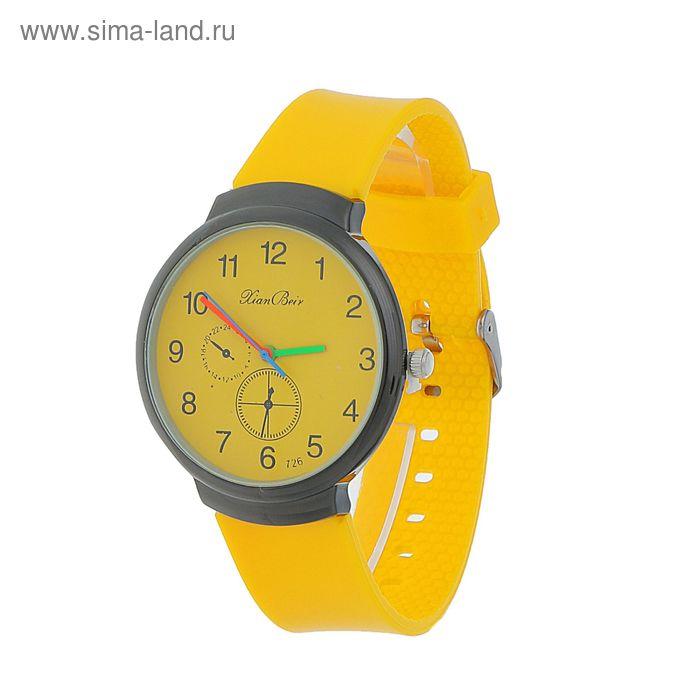 Часы наручные жен ХianВeir, цветные стрелки, ремешок силикон желт