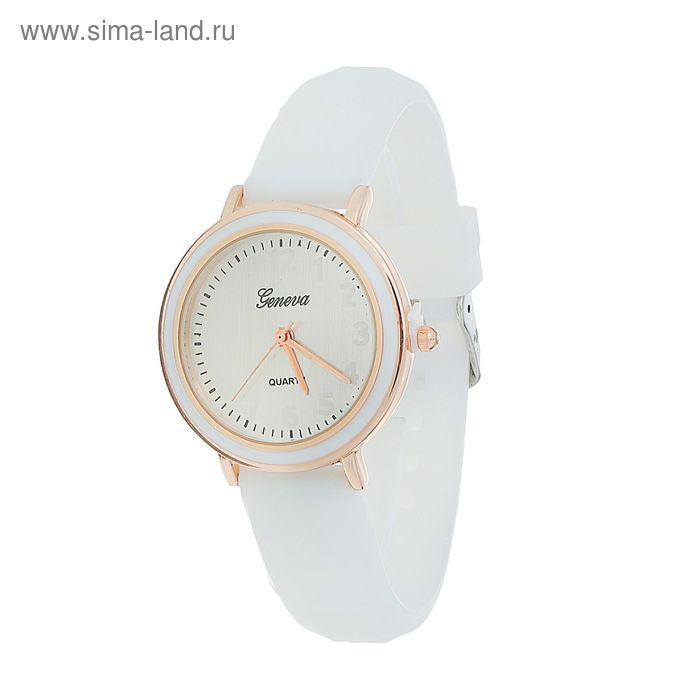 Часы наручные жен Женева, ремешок силикон бел