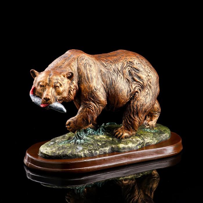 """Сувенир """"Медведь с рыбой"""", бронзовый цвет, 25 см"""