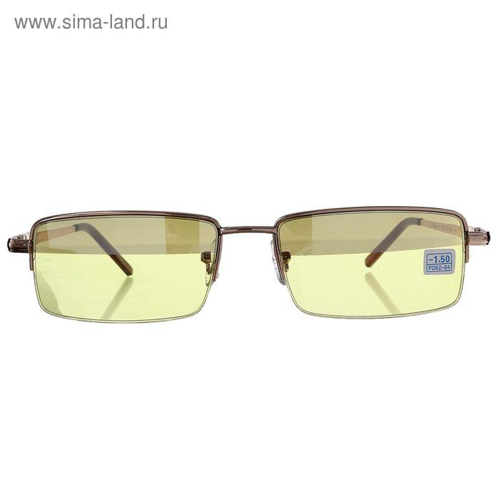 """Очки """"Антифары"""", пластик, прямоугольные, цвет чёрно-жёлтый, -1,5 дптр, 62-64 мм"""