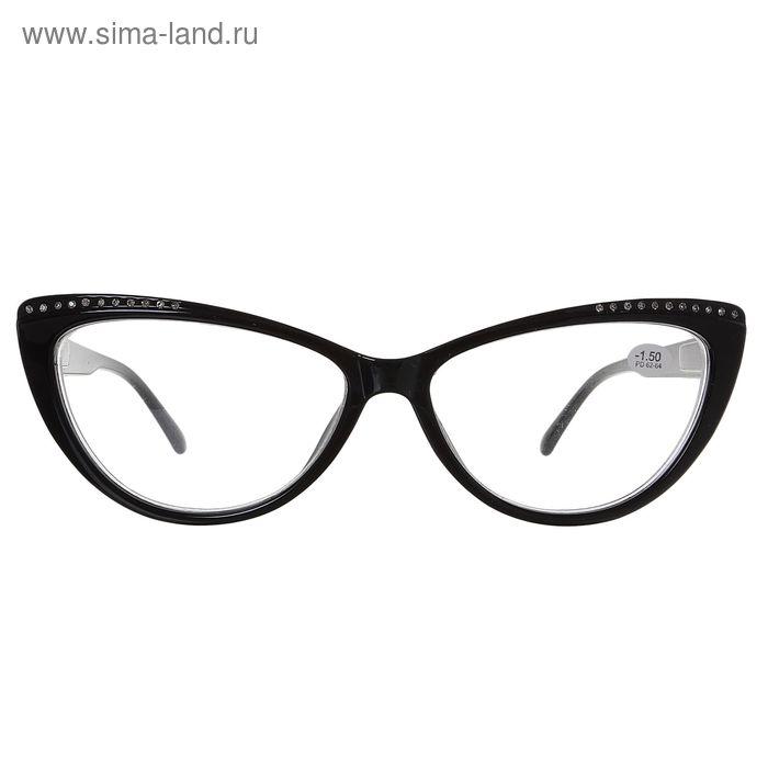 """Очки """"Кошачий глаз"""", пластик, цвет чёрный, -1,5 дптр, 62-64 мм"""