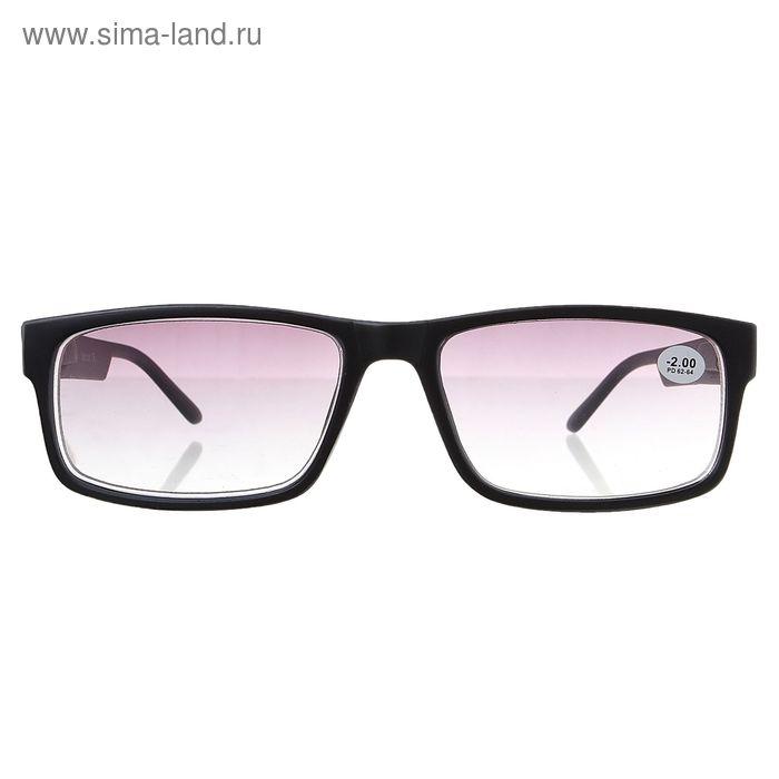 """Очки """"Прямоугольные"""", пластик, тонированная линза, цвет чёрно-серый, -2 дптр, 62-64 мм"""