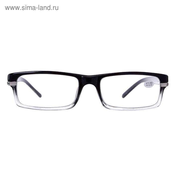 """Очки """"Прямоугольные"""", пластик, цвет чёрно-серый, +1 дптр, 62-64 мм"""