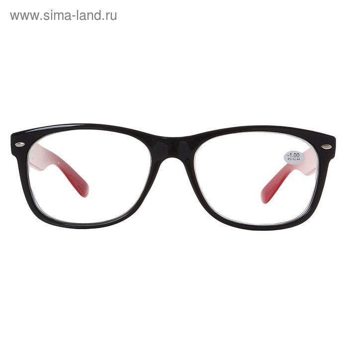 """Очки """"Квадратные"""", пластик, чёрно-красные, -1 дптр, 62-64 мм"""