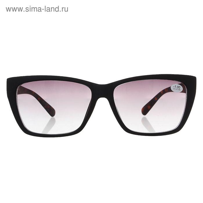 """Очки """"Бабочки"""" пластик, тонированная линза, цвет чёрный матовый, -1 дптр, 62-64 мм"""