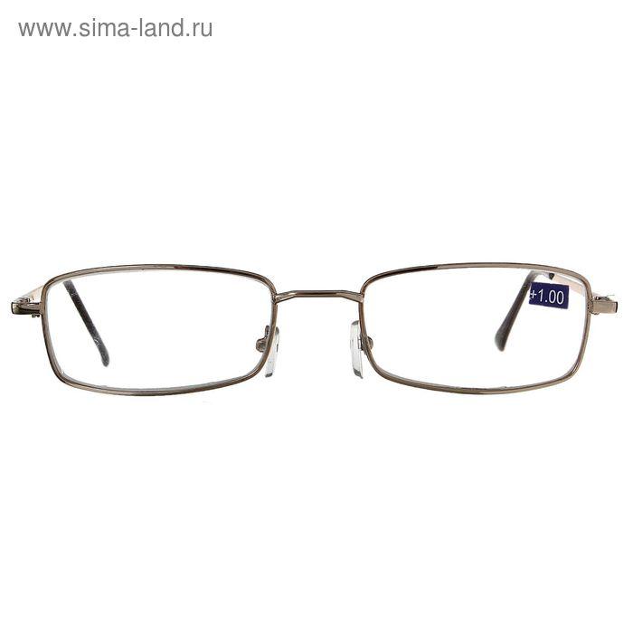 """Очки """"Прямоугольные"""", линза стеклянная, цвет светло-золотой, +1 дптр, 62-64 мм"""