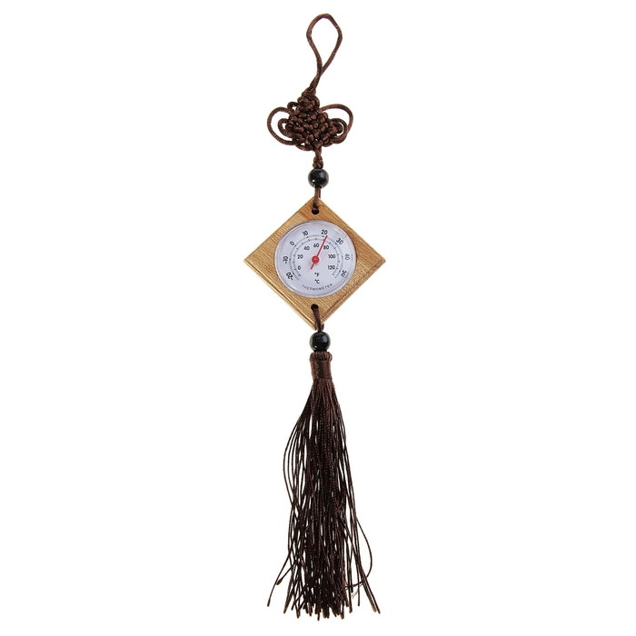 Термометр деревянный, на подвеске, 5 × 5 см, коричневый