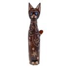 Сувенир Кот бутылка 60 см 3BOW 00-18C дерево албезия