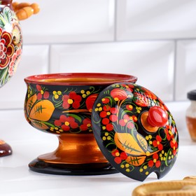 The candy bowl with lid, large, Khokhloma
