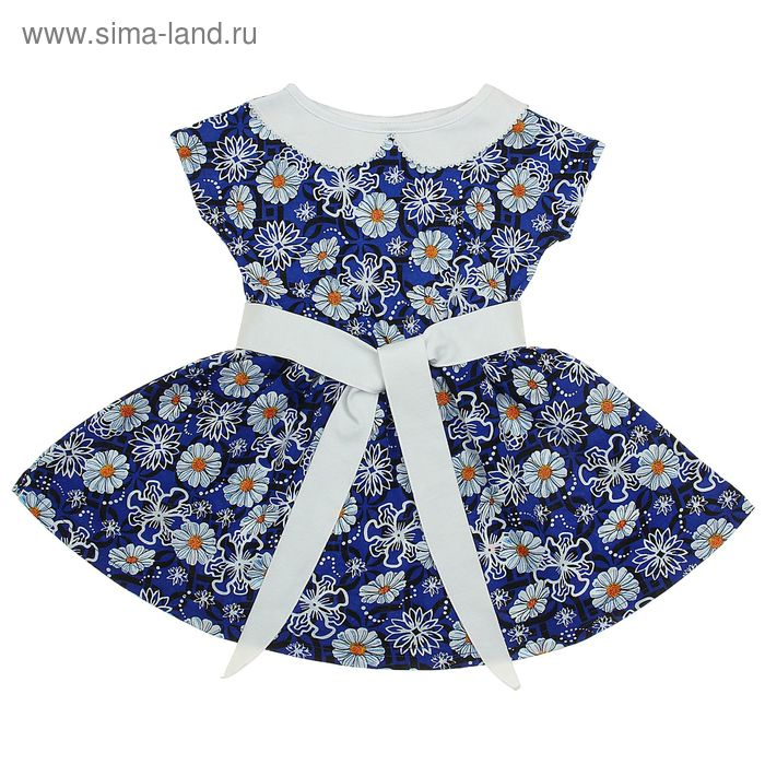"""Платье """"Летний блюз"""", рост 128 см (64), цвет васильковый, принт цветы (арт. ДПК921001н)"""