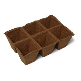 Peat cartridge, 6 cells, 400 ml each, 9 × 9 cm.
