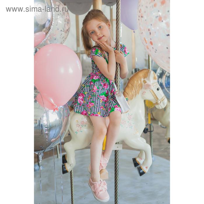 """Платье """"Летний блюз"""", рост 140 см (72), принт розы (арт. ДПК835001н)"""