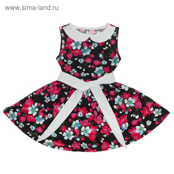 """Платье """"Летний блюз"""", рост 140 см (72), цвет чёрный, принт цветы (арт. ДПБ918001н)"""