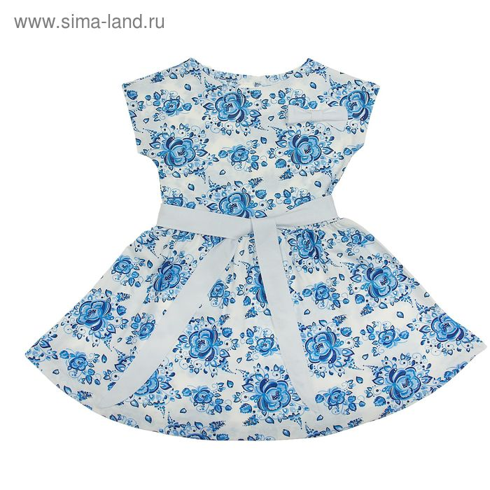 """Платье для девочки """"Летний блюз"""", рост 110 см (56), цвет белый, принт гжель (арт. ДПК914001н)"""