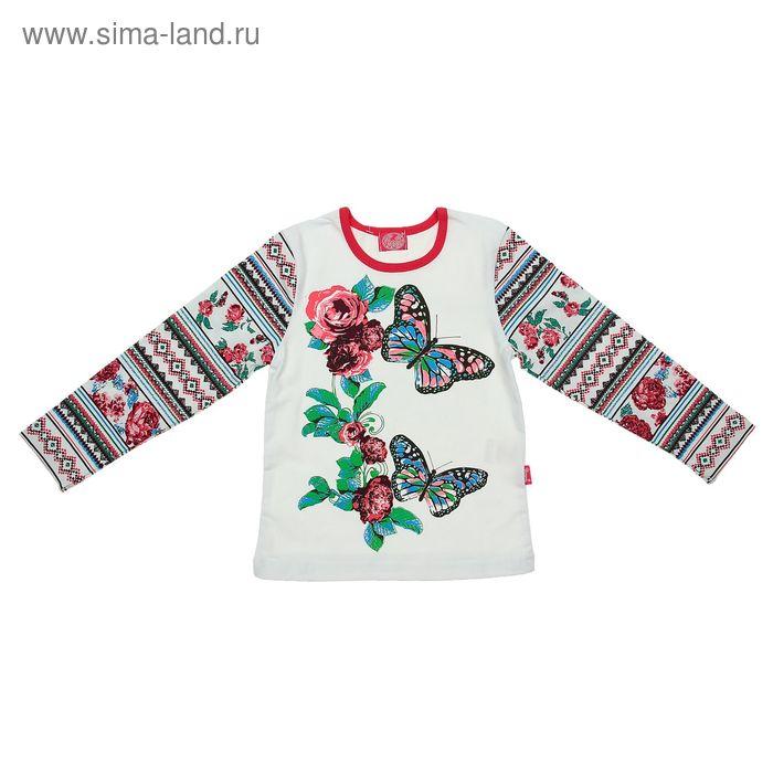 """Джемпер """"Славянский орнамент"""", рост 104 см (54), цвет белый, принт вышивка ДДД329800н"""