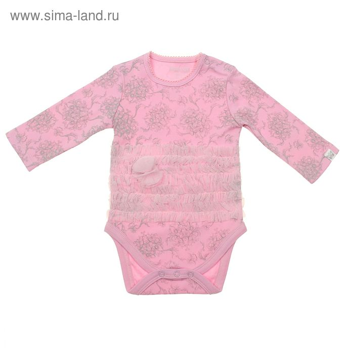 Боди с длинным рукавом для девочки, рост 74 см (44), цвет розовый (арт. ZBG 13332-P)