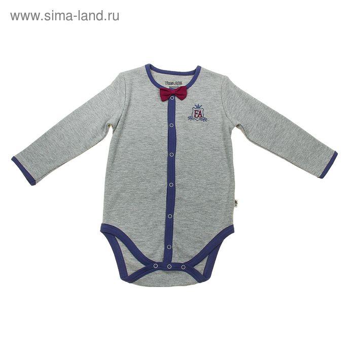 Боди с длинным рукавом для мальчика, рост 62 см (40), цвет серый меланж (арт. ZBB 13341-GG0)
