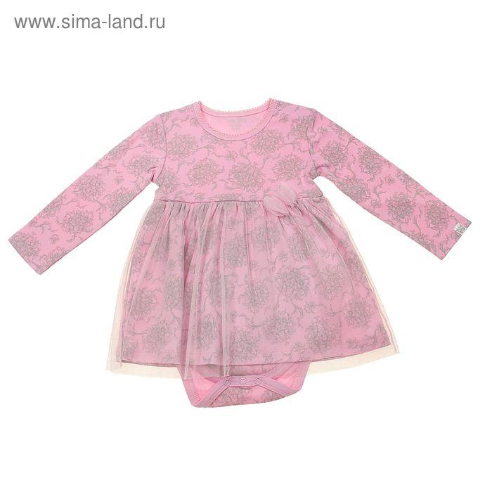 Платье-боди для девочки, рост 62 см (40), цвет розовый (арт. ZBG 13335-P)