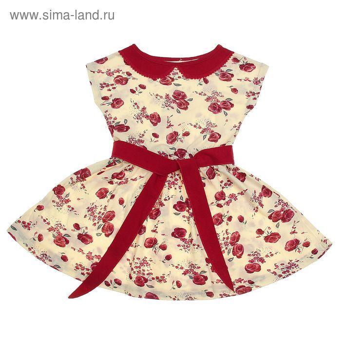 """Платье """"Летний блюз"""", рост 134 см (68), цвет бордовый, принт гжель (арт. ДПК921001н)"""