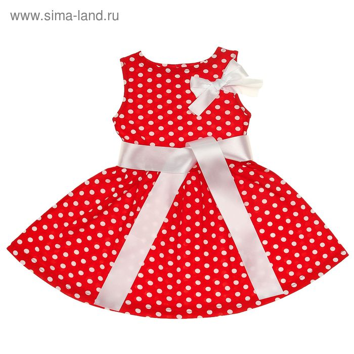 """Платье """"Летний блюз"""", рост 122 см (62), цвет красный, принт горошек (арт. ДПБ847001н)"""