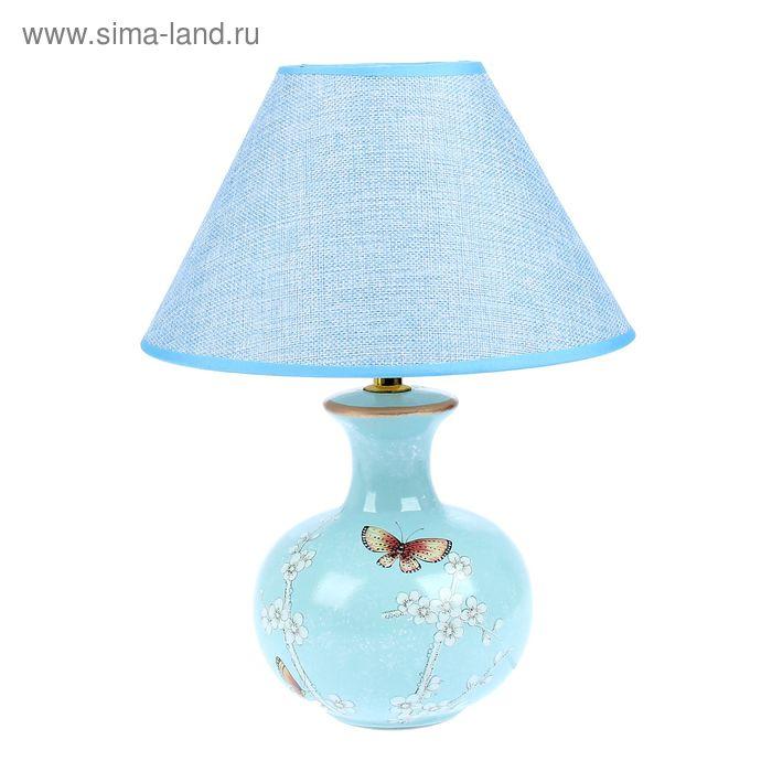 """Лампа настольная """"Бабочки на сакуре"""" голубая"""