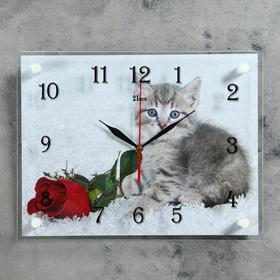 """Часы настенные, серия: Животный мир, """"Котенок и роза"""", 30х40 см"""