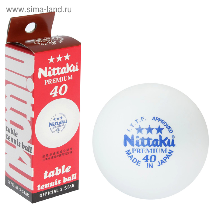 Мяч для наст. тенниса Nittaku Premium 3***, целлулоид, ITTF Appr.,1212 белый