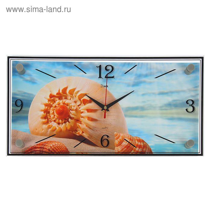 "Часы настенные прямоугольные ""Морская раковина"", 19х39 см"