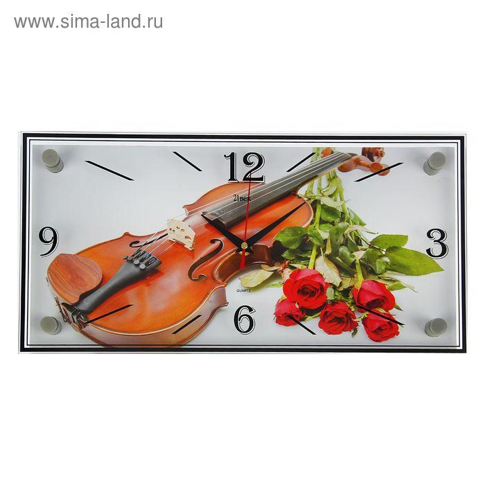 """Часы настенные прямоугольные """"Розы и скрипка"""", 19х39 см"""