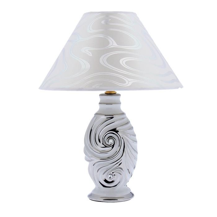 """Лампа настольная керамика """"Вихрь"""" белое серебро 220V Е14 35,5х27,5х27,5 см - фото 1646295"""