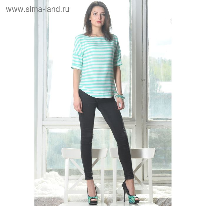 Блуза 4945, размер 44, рост 164 см, цвет мята/белый