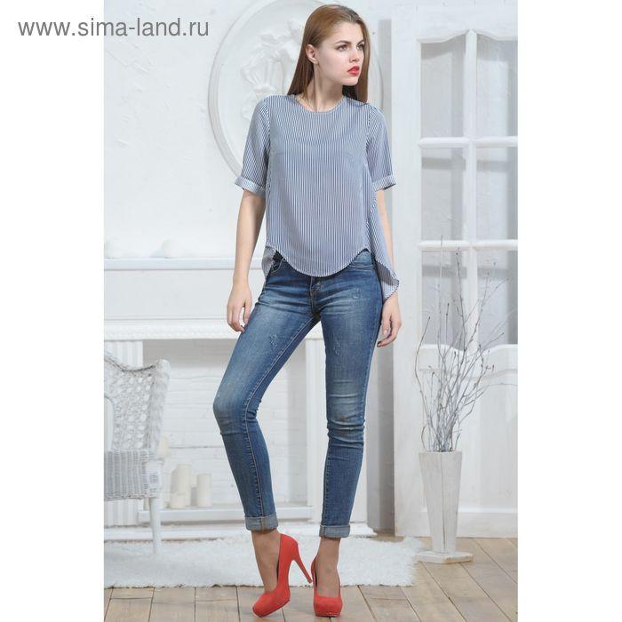 Блуза 4947, размер 44, рост 164 см, цвет т.синий/белый