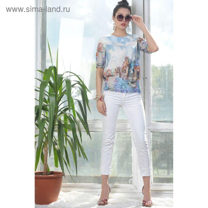 Блуза 4943, размер 48, рост 164 см, цвет голубой/белый