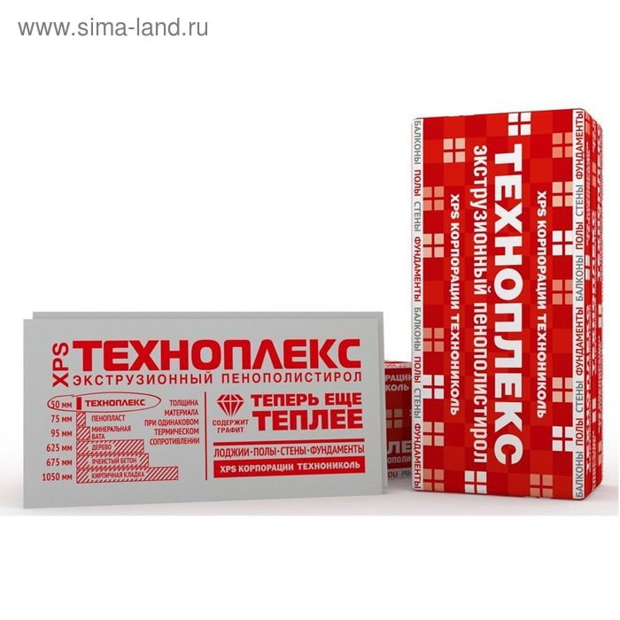 Экструзионный пенополистирол ТЕХНОПЛЕКС, 1180х580х50*6 листов