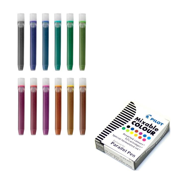 Картридж чернильный Pilot набор 12 штук для Parallel Pen (каллиграфия) микс 12 цв. IC-P3