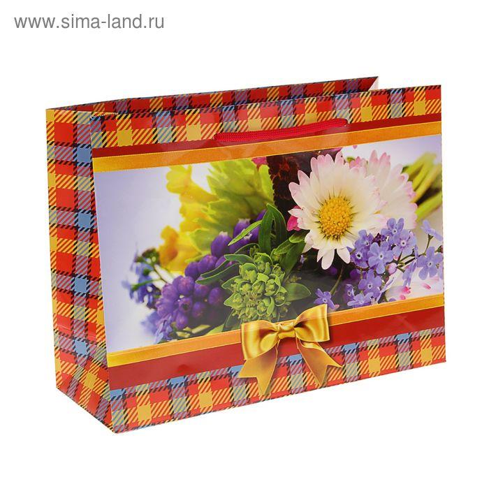 """Пакет подарочный """"Полевые цветы"""" 24,5 x 32,5 x 12 см"""