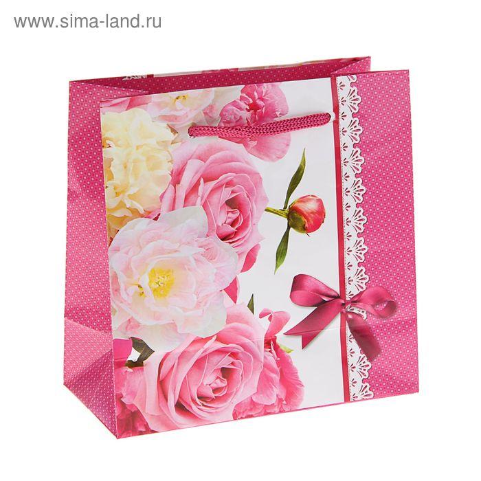 """Пакет подарочный """"Роза ветров"""" 16 х 16 х 7.6 см"""