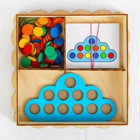 """Развивающая игрушка """"Умное облачко"""", диаметр кружков: 2 см, в наборе 15 карточек"""