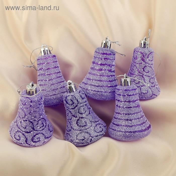 """Ёлочные игрушки """"Фиолетовые колокольчики с рисунком"""" (набор 6 шт.)"""