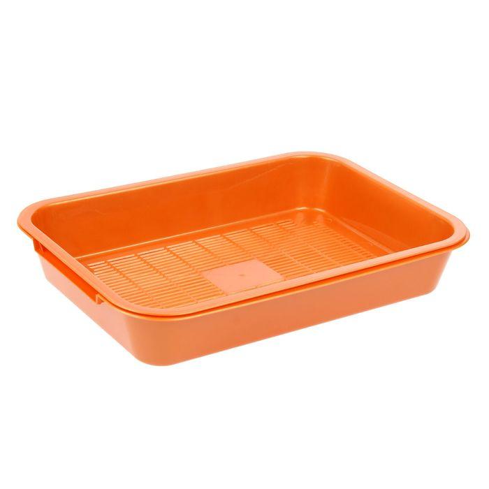 Туалет перламутровый средний с сеткой, 36 х 26 х 6,5 см, оранжевый
