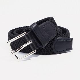 Ремень, резинка плетёнка, пряжка металл, ширина - 2,5 см, цвет чёрный