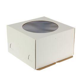 Кондитерская упаковка, короб белый с окном 30 х 30 х 19 см