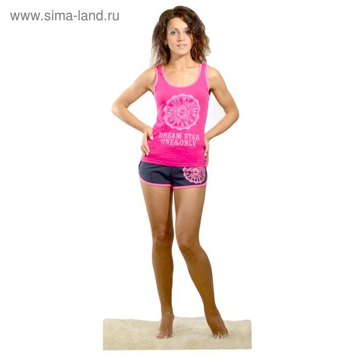 Комплект женский (майка, шорты) Фэшн цвет малиновый, р-р 52