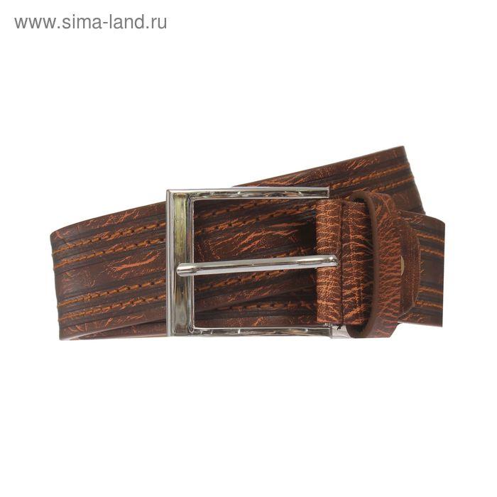 Ремень мужской, винт, пряжка под металл, ширина - 4см, коричневый