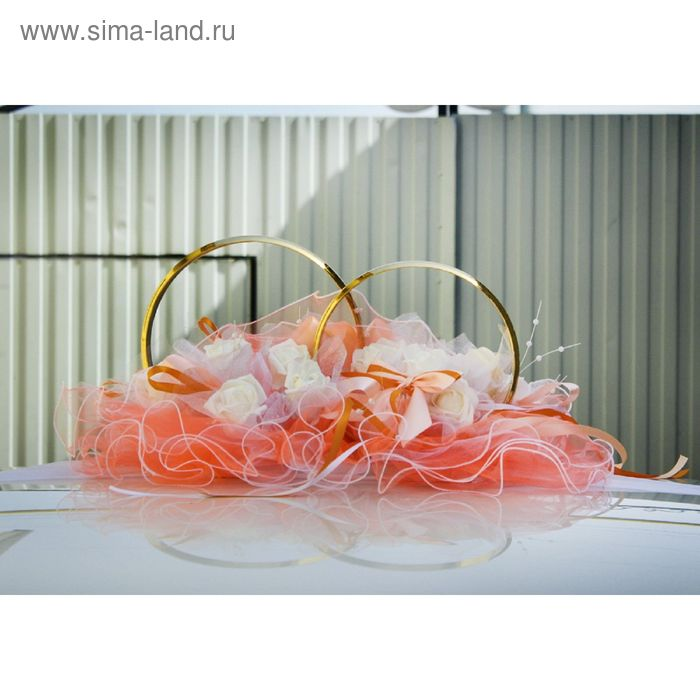 "Кольца золото на крышу ""Свадебная роза"" 62х47х26 см латексная роза оранжевый-белый"