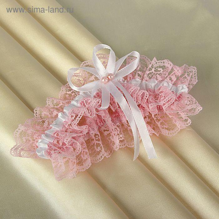 Подвязка невесты нежная роза с кружевом